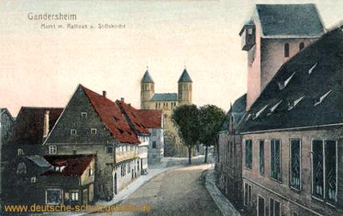 Gandersheim, Markt mit Rathaus und Stiftskirche