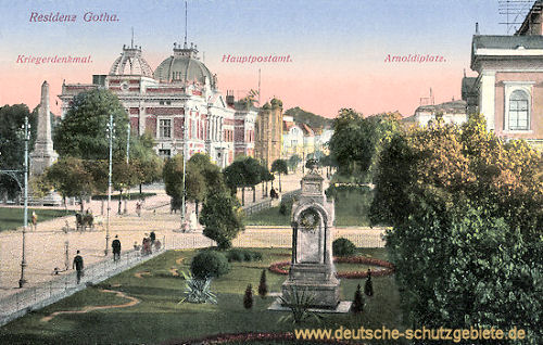 Residenz Gotha. Kriegerdenkmal, Hauptpostamt, Arnoldplatz mit Denkmal