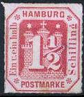 1 ½ Schilling, Hamburg Briefmarke 1859