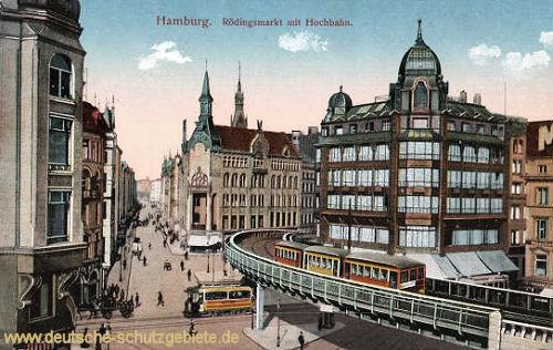 Hamburg, Rödingsmarkt mit Hochbahn