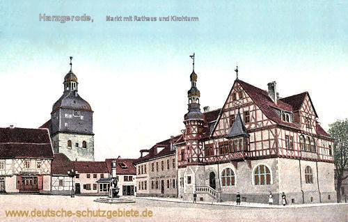 Harzgerode, Markt mit Rathaus und Kirchturm