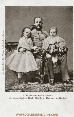 S.M. Kaiser Franz Josef I. mit seinen Kindern Erzh. Gisela und Kronprinz Rudolf