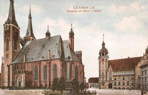 Köthen, Marktplatz, Kirche, Rathaus