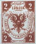 2 Schilling, Lübeck Briefmarke 1859