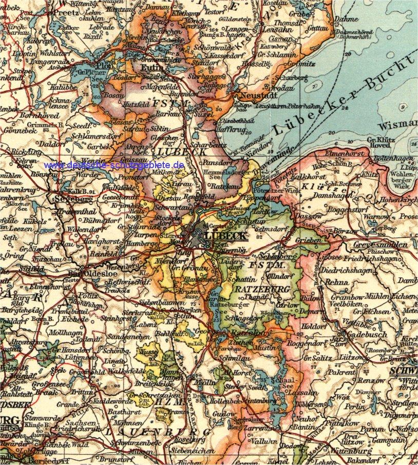 Lübeck, Fürstentum Lübeck, Fürstentum Ratzeburg, Karte 1900