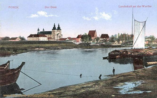 Posen, Der Dom Landschaft an der Warthe