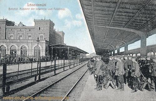 Schneidemühl, Bahnhof. Rückkehr der Infanterie vom Felddienst