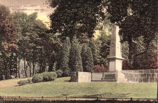 Barmer Anlagen, Kriegerdenkmal 1866