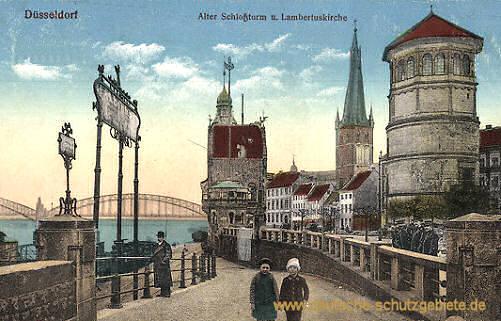 Düsseldorf, Alter Schlossturm und Lambertuskirche