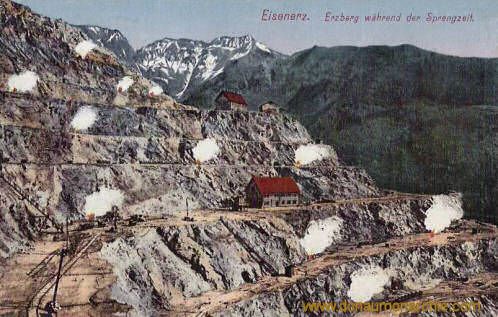 Eisenerz, Erzberg während der Sprengzeit