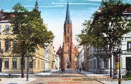 Krefeld, Stephanstraße mit Stephanskirche