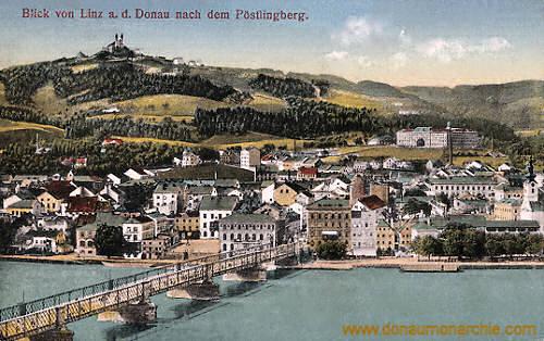 Blick von Linz a. d. Donau nach dem Pöstlingberg