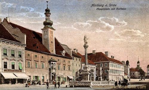 Marburg a. d. Drau, Hauptplatz mit Rathaus