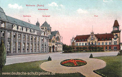 Mülheim an der Ruhr, Victoriaplatz, Sparkasse, Synagoge, Post