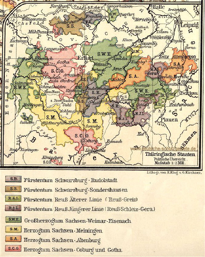 Thüringische Staaten, Übersichtskarte