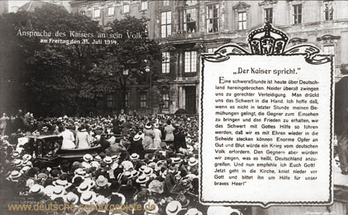 Ansprache des Kaisers an sein Volk am Freitag, den 31 Juli 1914
