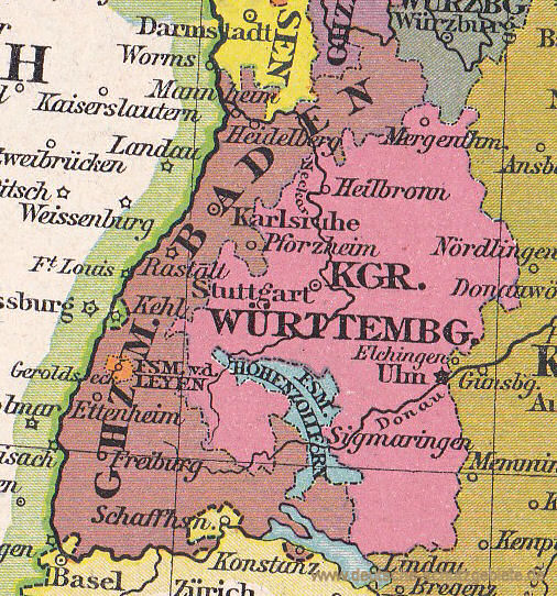 Großherzogtum Baden, Königreich Württemberg, 1812