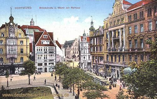 Dortmund, Brückestraße und Markt mit Rathaus