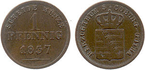 Herzogtum Sachsen-Coburg-Gotha, 2 Pfennig 1857