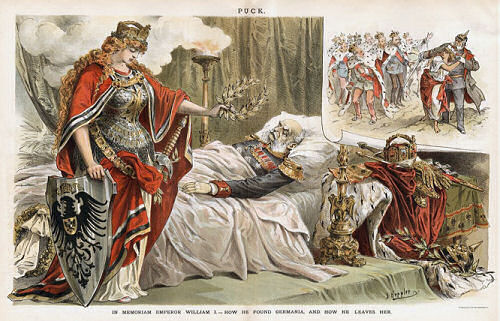 """""""IN MEMORIAM EMPEROR WILLIAM I. - HOW HE FOUND GERMANIA, AND HOW HE LEAVES HER."""" von J. Keppler in """"PUCK"""", New York März 1888"""