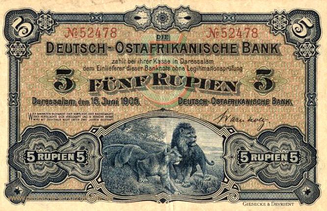 Deutsch-Ostafrikanische Bank 5 Rupien, 1905