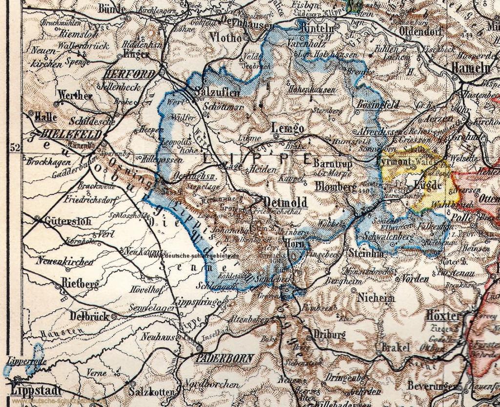 Fürstentum Lippe, Landkarte 1905