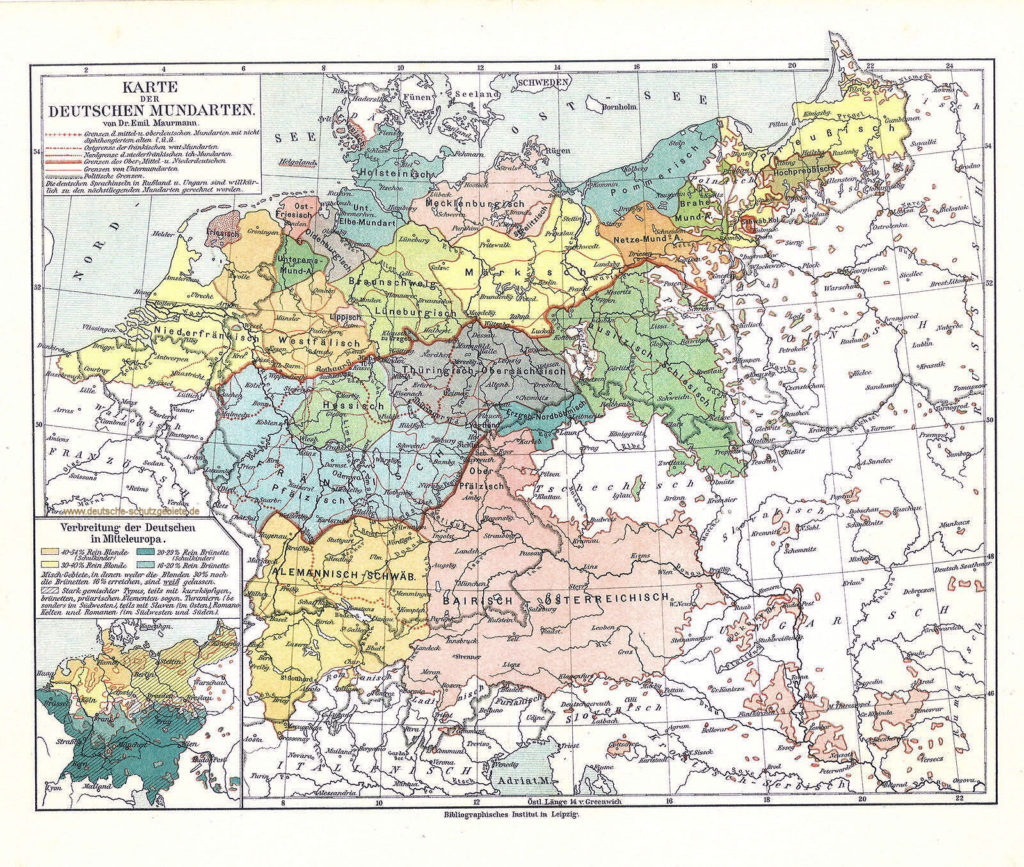 Karte der Deutschen Mundarten von Dr. Emil Maurmann