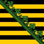 Wettiner Wappen: Schwarz-Gold mit Rautenkranz