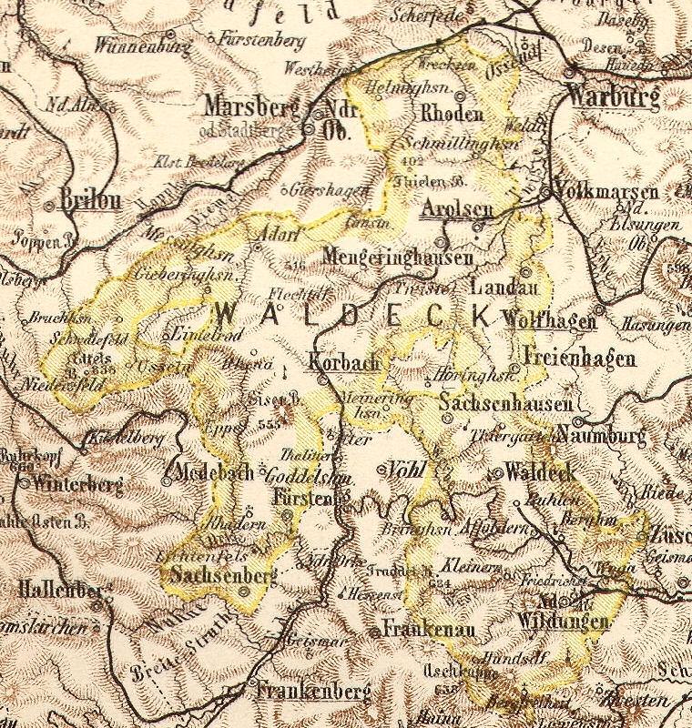 Fürstentum Waldeck, Landkarte