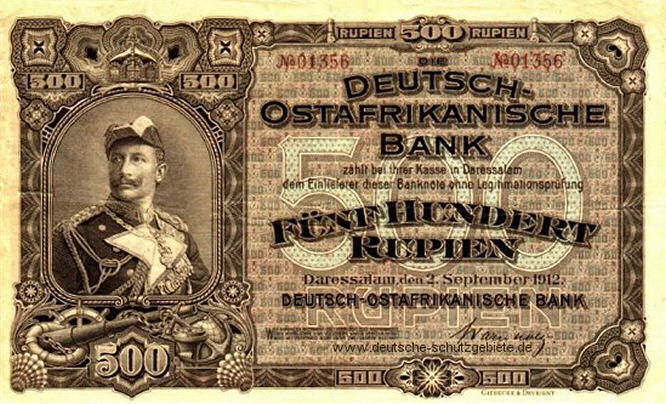Deutsch-Ostafrikanische Bank 500 Rupien, 1912