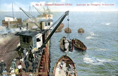 Deutsch-Südwest-Afrika, Ausbooten der Passagiere, Swakopmund