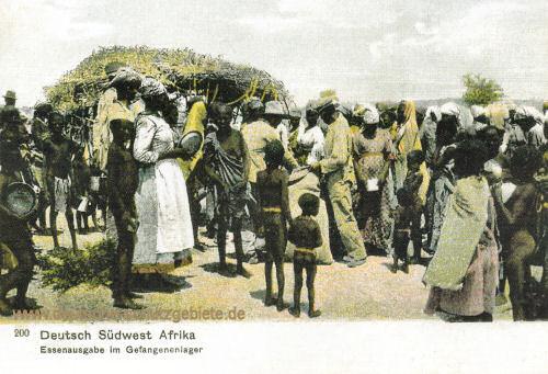 Deutsch-Südwest-Afrika, Essenausgabe im Gefangenenlager