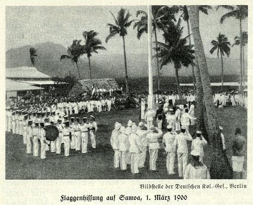 Flaggenhissung auf Samoa am 1. März 1900