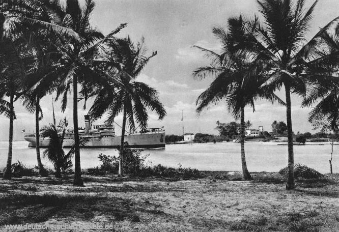 Deutsch-Ostafrika, Hafeneinfahrt von Daressalam