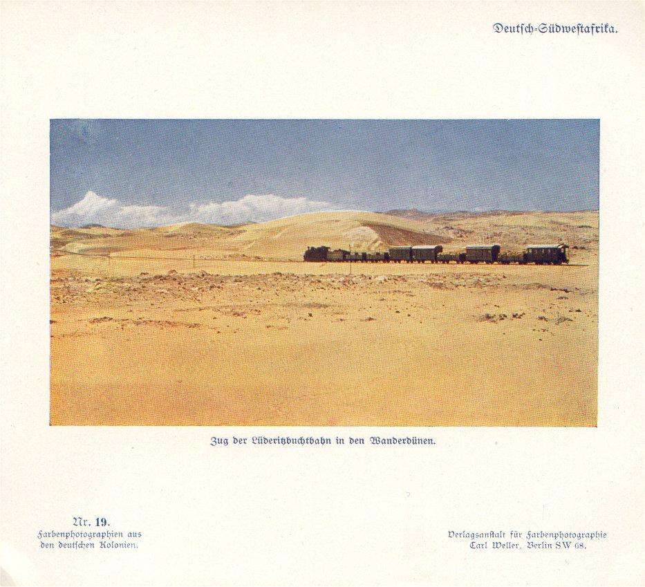 Nr. 19 Deutsch-Südwestafrika, Zug der Lüderitzbuchtbahn in den Wanderdünen