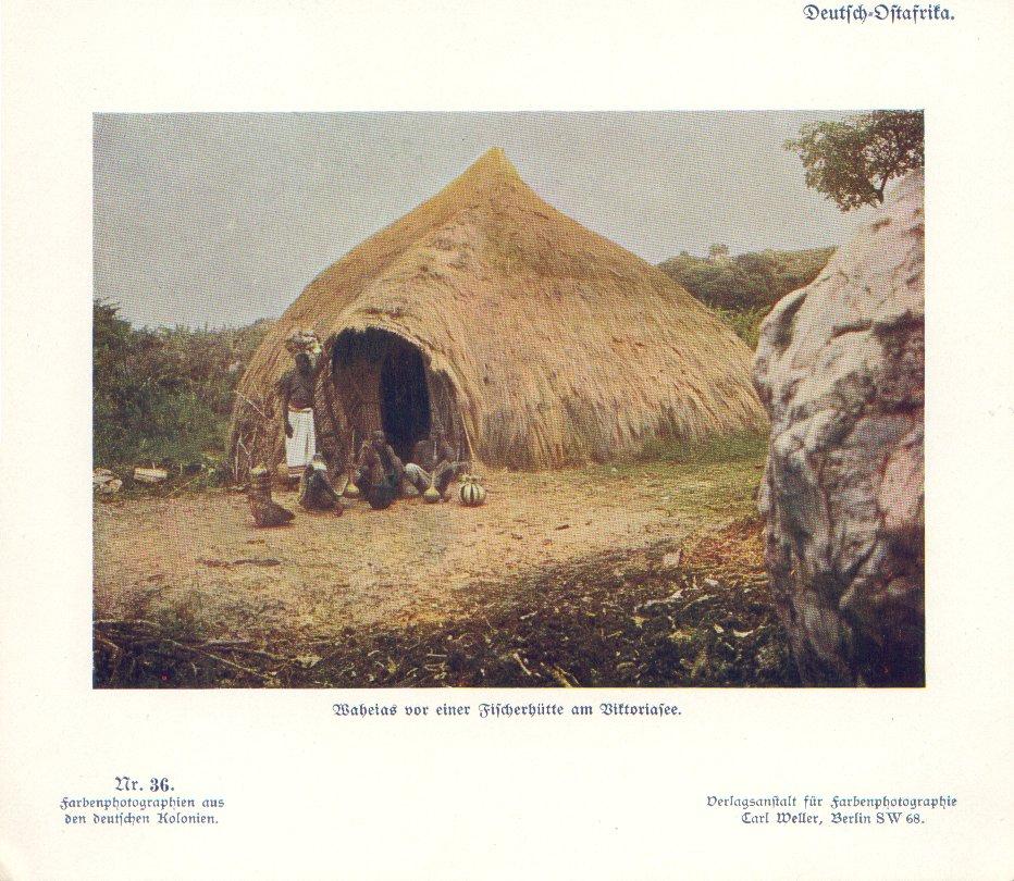 Nr. 36 Deutsch-Ostafrika, Waheias vor einer Fischerhütte am Viktoriasee