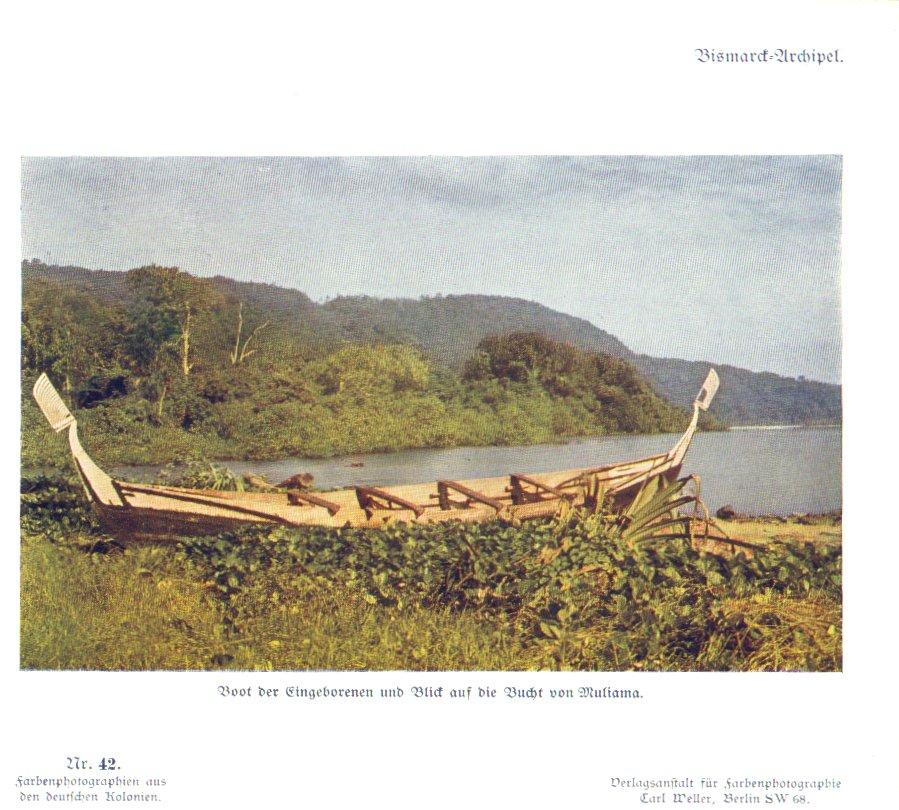 Nr. 42 Bismarck-Archipel, Boot der Eingeborenen und Blick auf die Bucht von Muliama