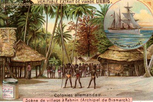 Dorfszene auf dem Bismarck-Archipel, S.M.S. Bussard