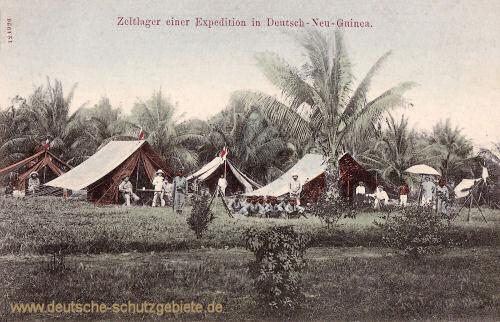 Deutsch Neu-Guinea, Zeltlager einer Expedition