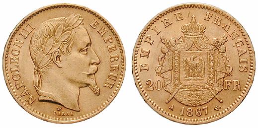 Frankreich 20 Francs 1867, Napoleon III.