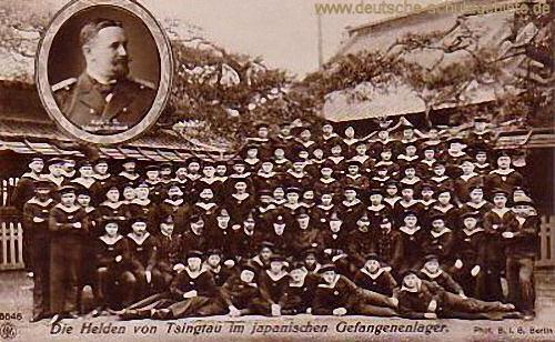Die Helden von Tsingtau im japanischen Gefangenlager.