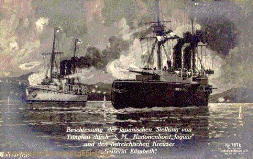 Beschießung der japanischen Stellungen von Tsingtau durch S.M. Kanonenboot Jaguar und den österreichischen Kreuzer Kaiserin Elisabeth.