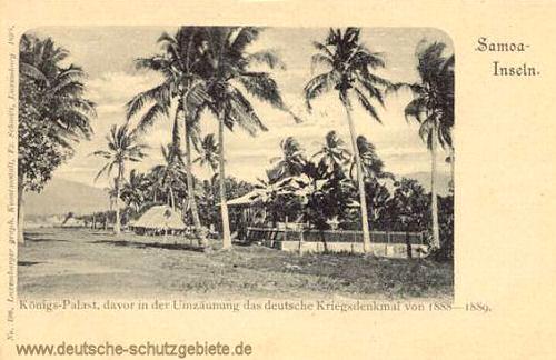 Samoa, Königs-Palast, davor in der Umzäunung das deutsche Kriegsdenkmal von 1888 - 1889