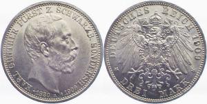 3 Mark 1909, Schwarzburg-Sondershausen