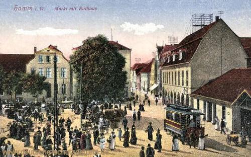 Hamm i. W., Markt mit Rathaus