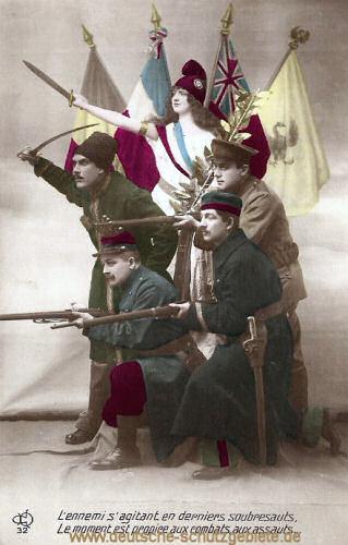 Marianne mit Belgier, Franzose, Brite und Russe