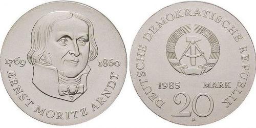 Ernst Moritz Arndt, 20 Mark Silbermünze DDR 1985