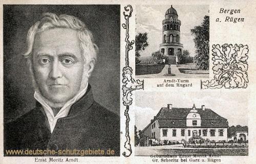 Ernst Moritz Arndt, Arndt-Turm auf dem Rugard, Geburtshaus in Schoritz bei Garz auf Rügen