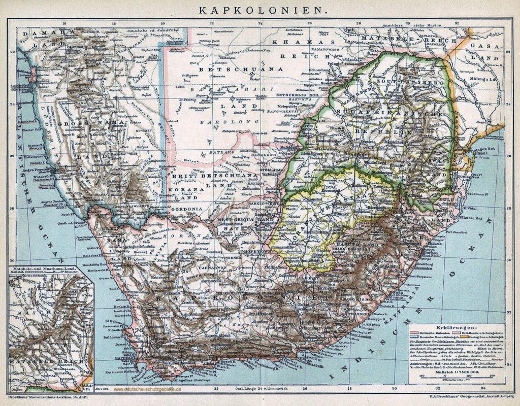 Südafrika - Kapkolonien - Landkarte 1905