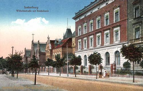 Insterburg, Wilhelmstraße mit Reichsbank